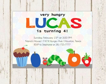 Very Hungry Caterpillar Birthday Party Invitation