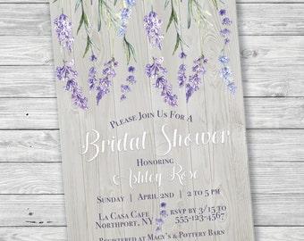 Lavender Rustic Wood Bridal Shower Invitation, Printable Bridal Shower Invitation, Digital Print, Lavender Sprigs, Flowers, Rustic Invite