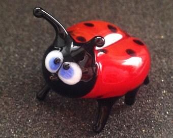 Glass ladybug figurines
