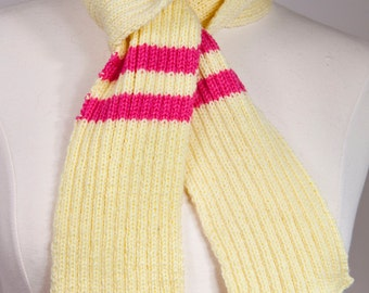 Lemon and Hot Pink Skinny Neck Scarf