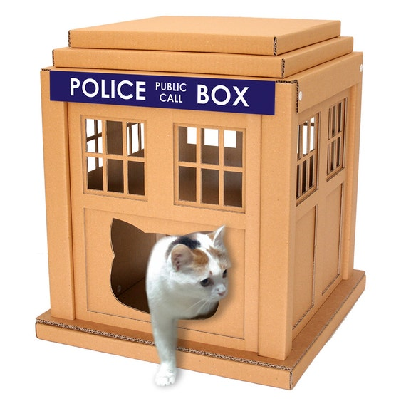 Dr Who Tardis Cardboard Cat House Unique Cat Furniture