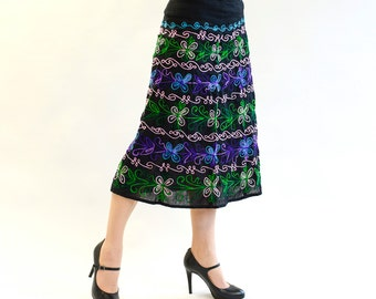 Embroidered skirt Egwene in the form of A green, blue, pink, single piece