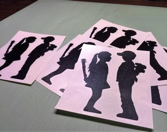 BANKSY Boy Meets Girl Vinyl Decal 6x6, 10x10 or 14x14 Inch