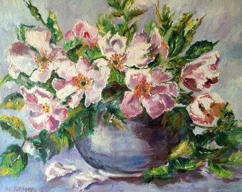 Flowers in vase, flowers, Original, Impressionist, oil on canvas, oil on canvas, handmade 30X24cm