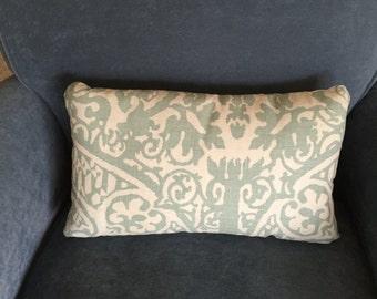 Seafoam green & beige print pillow