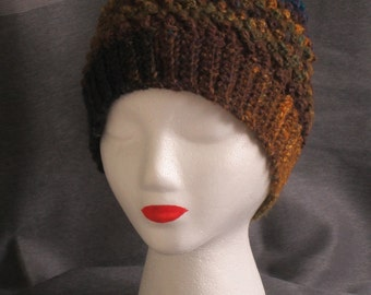 Bobble Hat//Crocheted in Multicolored Silk and Mohair