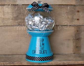 Keep Calm and Eat Chocolate, Teal Blue Candy Dish, Bubble Gum Candy Dish