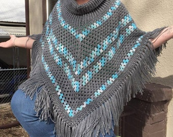 Crochet Cowl Poncho With Fringe
