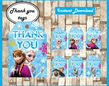 frozen Thank you Tags, printable frozen party Thank you Tags, frozen Thank you Tags