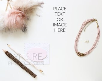 Styled Stock Photo | Desk Flatlay Pink and White Office | Photography Digital Image