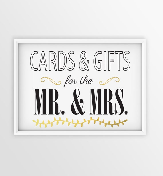 Wedding Gifts Mr And Mrs: Cards And Gifts For The Mr. & Mrs. Wedding Sign Instant