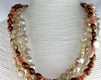 Four strand mixed pearl, crystal and cherry quartz necklace