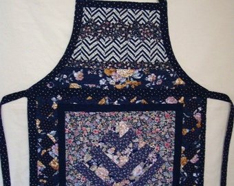 Navy Meadow--Women's Quilted Apron