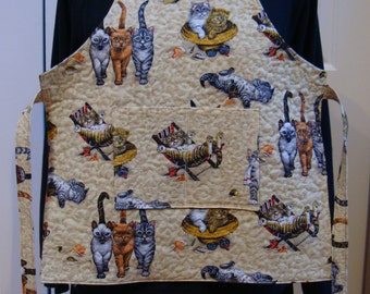 Kittens in the Kitchen--Child's Quilted Apron