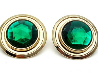 Green Round Stud Faux Emerald Color Clip on Earrings Retro Vintage Gemstone Shape