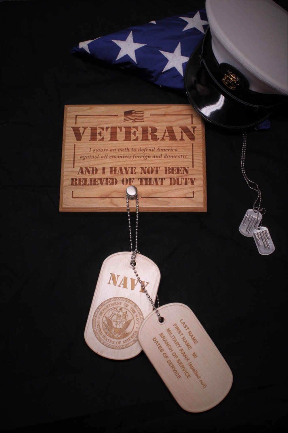 Custom Oversized Military Wooden Dog Tags With Plaque