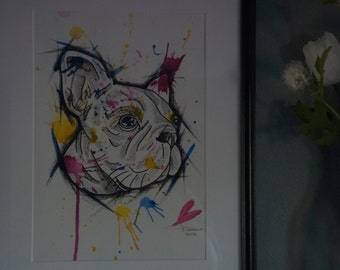 Original French Bull Dog Mixed Media Painting A4