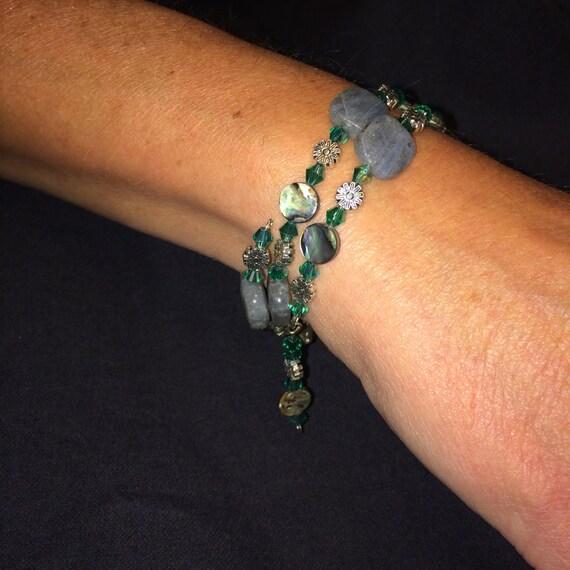Number 21 Memory wire bracelet hand beaded. Maine Artist