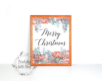 Merry Christmas wall art holiday print instant download holiday art decor Christmas wall decor Xmas quote printable calligraphy print