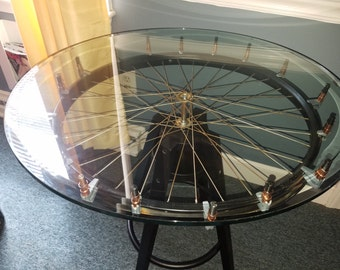 Glass-topped Wheel Table