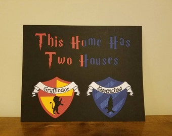 """Hogwarts Houses 10x8"""" Sign - Any Two Harry Potter Houses"""