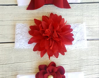 Set of beautiful red and white headbands with embellishment-baby-toddler-kids headbands-babyshower gift
