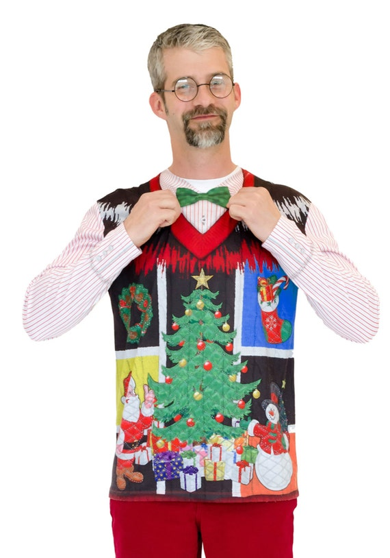 Ugly Tacky Merry Christmas Happy Hanukkah festivus party Noel Bow Tie santa claus eve morning elf Sweater Vest v neck long sleeve T Shirt
