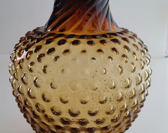 Amber Indiana Glass Hobnail Tiara Vase With Twisted Flair Top/Indiana Glass/Hobnail Glass/Tiara/Amber Vase/Hobnail Vase/Tiara Vase