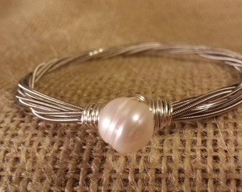 Guitar String Bangle ~ Fresh Water Pearl