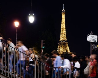 Eiffel Tower at Night (A Moment in Parisian Life) - Large Wall Art Print
