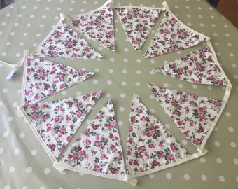Handmade double sided 3m bunting- Cream /Roses