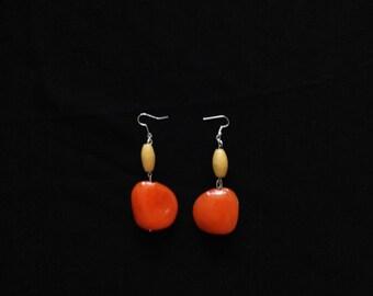 Striking Orange Beaded Earings