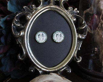Macabre Earrings handmade vintage brass finish pierced steampunk Gothic curios oddities anatomy bones skeleton 16mm