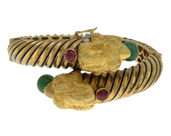 Vintage 18K Yellow Gold Lion Head Bangle with Jade, Ruby, Diamond and Enamel