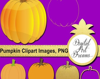 Pumpkin Clipart, Cute Halloween Clip Art, Digital Pumpkins, Gold Foil Pumpkins Image, Instant Download, Pumpkin PNG, Commercial Use, Vector