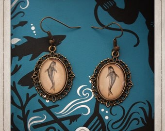 Whale earrings bronze cabochons oval 13x18mm nautical BOCB031