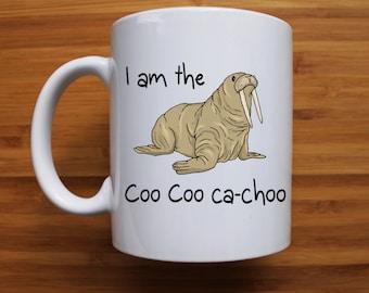 The Beatles mug, I am the walrus mug, beatles fan, coo coo ca choo, gifts for friend, gift for her, gift for him, funny mug, ceramic mug,