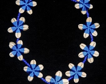 Cowrie Shell Flower necklace, Mermaid Necklace Electric Blue