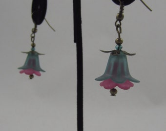 Green and Pink Tulip Dangling Earrings