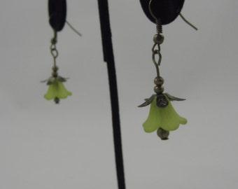 Green Tulip Dangling Earrings