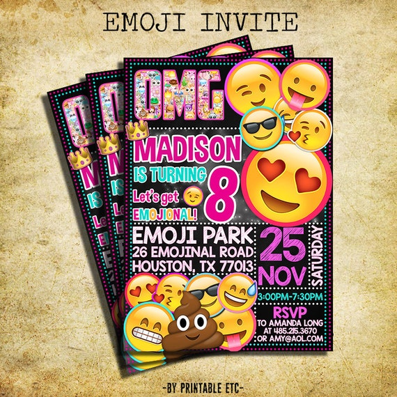 Obsessed image within printable emoji invitations