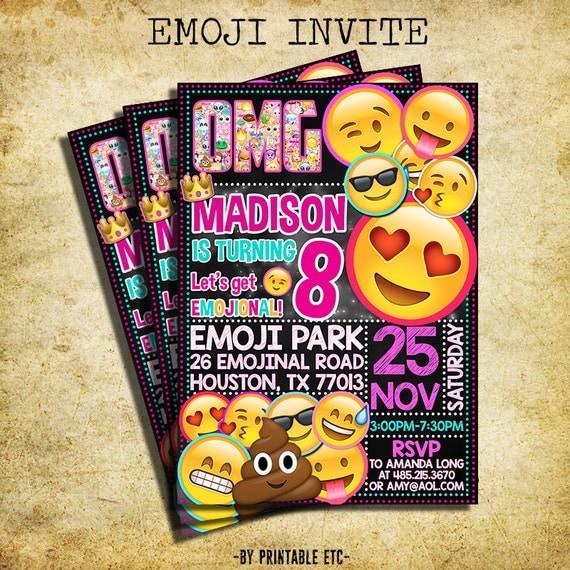 It's just an image of Soft Printable Emoji Birthday Invitations