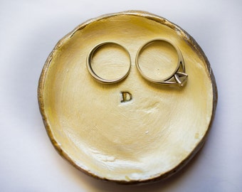 initial ring dish; letter D ring dish; yellow ring dish; small clay ring dish; jewelry holder