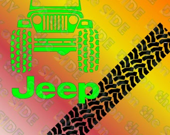 SVG Cut File Jeep and Tire Tracks Fun for Kids Shirts Instant Download