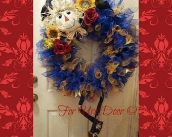 Scarecrow Deco Mesh Wreath, Fall Deco Mesh Wreath, Halloween Wreath, Scarecrow Wreath, XL Deco Mesh Wreath
