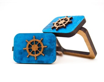 Ship Wheel - Napkin Ring - Wooden