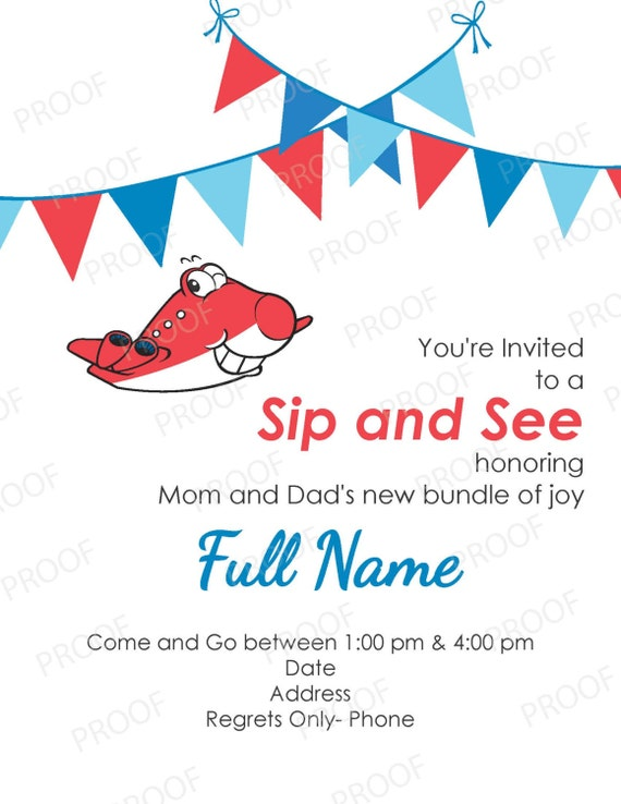 Baby Boy Sip & See Invitation