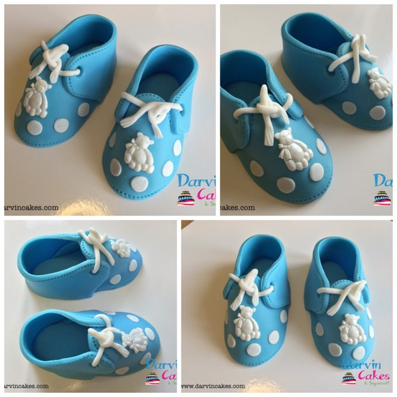 Cake Toppers For Baby Shower Uk : Items similar to Baby Shoes Fondant Fondant Shoes Baby ...