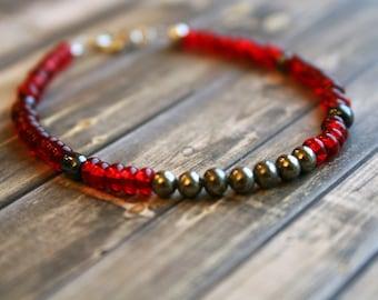 WEALTH & PROSPERITY, Pyrite Beaded Bracelet, Wish Bracelet, Positivity Bracelet, Sterling Silver Bracelet, Stacking Bracelet,Pyrite Bracelet