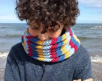 Children's Colourful Cowl - a beginner's crochet pattern pdf